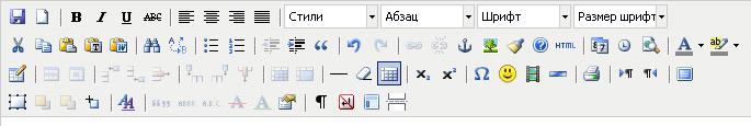 Полный вид редактора TinyMCE